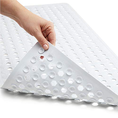 Gorilla Grip Original Patented Bath, Shower, Tub Mat, 35x16, Washable, Antibacterial, BPA, Latex, Phthalate Free, Bathtub Mats with Drain Holes, Suction Cups, XL Size Bathroom Mats, White