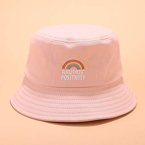 Sombrero de cubo con bordado de arco iris para mujer, de algodón, para playa, de panamá, de pescador, de pescador (color: rosa, tamaño: normal)