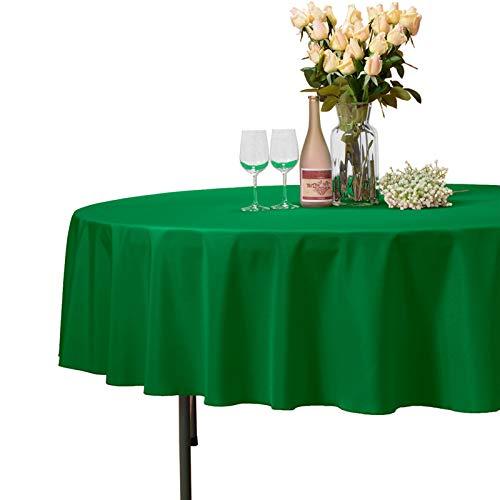 VEEYOO Tonda Rettangolare Quadrato Solido Poliestere Matrimonio Ristorante Party tovaglia, Tessuto, Green, Rotondo-274 cm