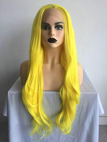 Heldere kleur pruik vrouwen Cosplay gele synthetische Lace Front pruik lang haar Drag Queen pruiken