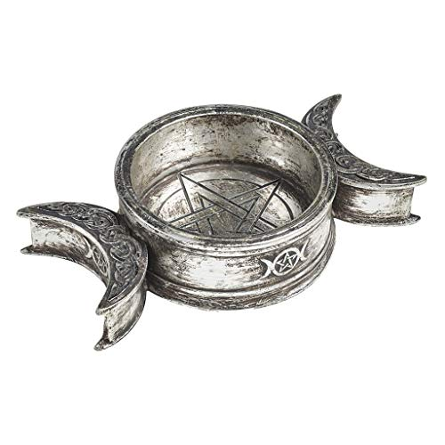 Alchemy Triple Moon Trinket Dish and Candle Holder - Collectible Gothic Home Decor - Wicca Witchcraft Design