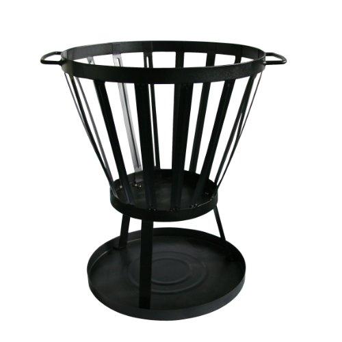 Kamino Flam Feuerkorb, vormontierte Feuerstelle, Feuerschale pulverbeschichtet, Gartenofen mit Funkenschutzbodenplatte zur Vorbeugung von Rasenschäden, einfache Montage, robuste Ascheschale, standfest, schwarz