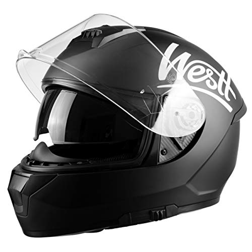 Casco Moto Visera Negra Marca Westt