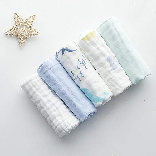 Baby-spaakhanddoek, baby-zakdoek, gezichtsdoek van katoengas, pak van 5 stuks S