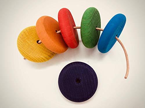 6 Regenbogen Holzsteine Handbemalt Fädelspiel Handmade Montessori Waldorf Natürlich Öko Lederband Regenbogenfarben Einfädeln Bunt Farben