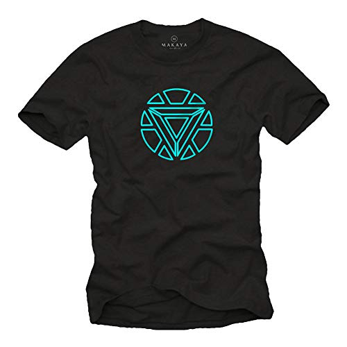 MAKAYA ARC Reactor Camiseta para Hombre - Industria de Stark Iron T-Shirt Negro Talla Grande XL