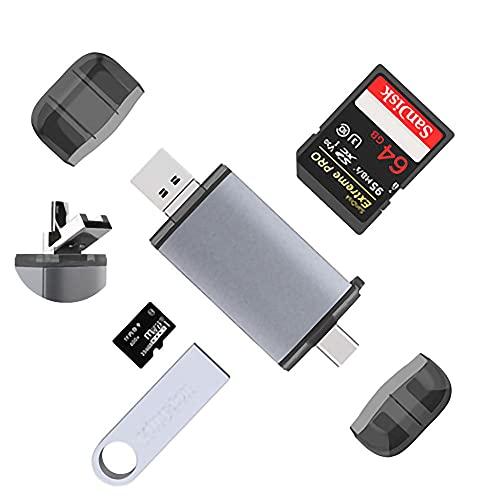 Lector de Tarjetas SD,Adaptador Micro SD, Lector de Tarjetas de Memoria USB Tipo C y USB 2.0 para Tarjetas SD / SDHC / SDXC, Micro SDXC / Micro SD / Micro SDHC