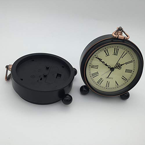 Bureze VST Silent Character - Reloj Despertador de Mesa de Noche (Hierro Forjado, Reloj de Escritorio)