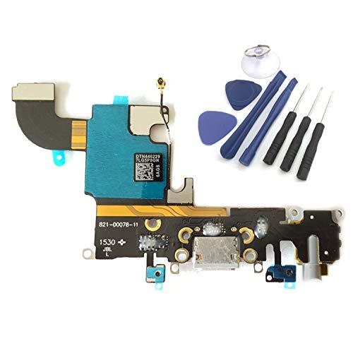 Conector de carga enoaFIX compatible con iPhone 6S, incluye conector de audio Jack Flex, antena, micrófono, conector Lightning y conector para auriculares en gris espacio/negro/gris