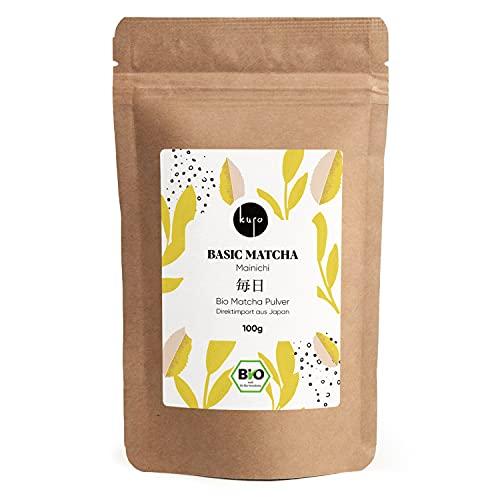 Bio Matcha-Tee aus Japan (100g) - Basic Matcha Mainichi– Extrafeines Grüntee-Pulver - Ideal für Smoothies, Matcha Latte, zum Backen und Pur - Vorratspackung mit Zip-Verschluss - DE-ÖKO-006