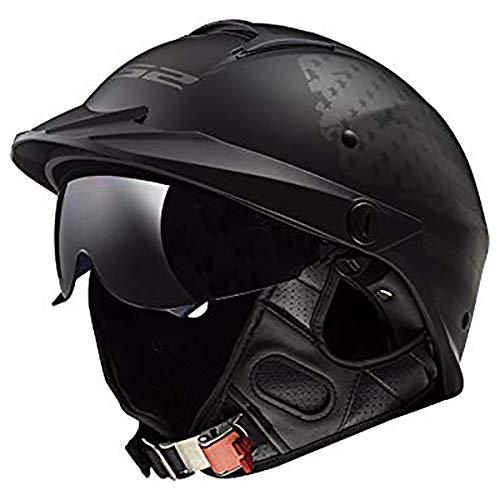 LS2 Helmets Rebellion Motorcycle Half Helmet (1812 Black Flag - 2X-Large)