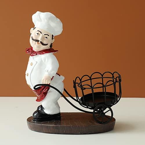 EU-NING Resina chef vino rack cocina mesa bar hogar decorativo vino artesanía metal escultura ventilador