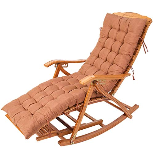 WYJW Klappbarer Bambuslehnstuhl Schaukelstuhl Ruhesessel Senioren Mittagspause Balkonstuhl Schaukelstuhl Korbstuhl (Farbe: Stuhl + Kissen b)