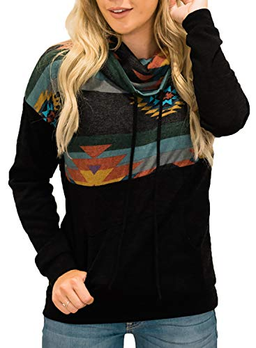 Aleumdr Women Cowl Neck Aztec Print Sweatshirts Tops Casual Drawstring Long Sleeve Color Block Patchwork Pullover Blouses with Pockets Black Medium 8 10