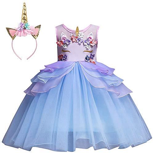Mbby Costumi Carnevale Bambine,2-7 Anni Vestiti Unicorno da Cerimonia per Bambina Cerimonia Abiti Principessa Fiori Senza Manica Tulle Abito Tutu per Ragazza