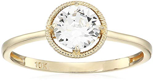10k Gold Swarovski Crystal April Birthstone Ring, Size 8