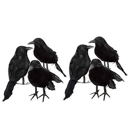 MHBY Halloween Decoration, 3PCS Halloween Crow Fake Bird Toy Crow Props Fancy Dress Decoration Props Party DIY Decorations