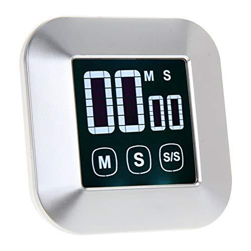 QWER Minuterie 0-99 Minutes à écran Tactile Alarme LCD Rétro-éclairage numérique Minuteur Horloge Outils de Cuisson Accessoires de Cuisine,Silver