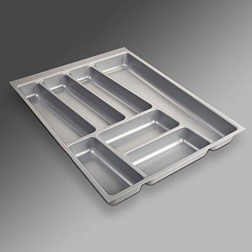 ORGA-Box® II Besteckeinsatz für Nobilia 45er Schublade (462 x 355 mm Bitte MESSEN SIE Ihr SCHUBLADENINNENMAß!) Silbergrau