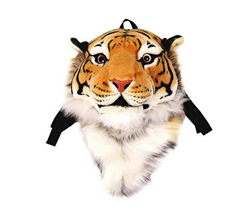 Herrlicher Tiger-Kopf-Löwe-Tierkopf-Rucksack 3D Rucksack (gelber Tiger, groß)