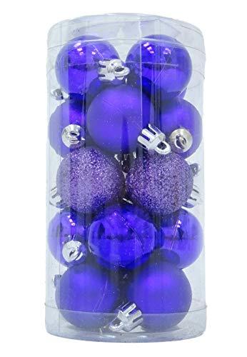 Christmas Concepts Confezione di bagattelle da 20-30 mm - Mini bagattelle Lucide opache e Glitter - Bagattelle dell'albero di Natale (Viola)