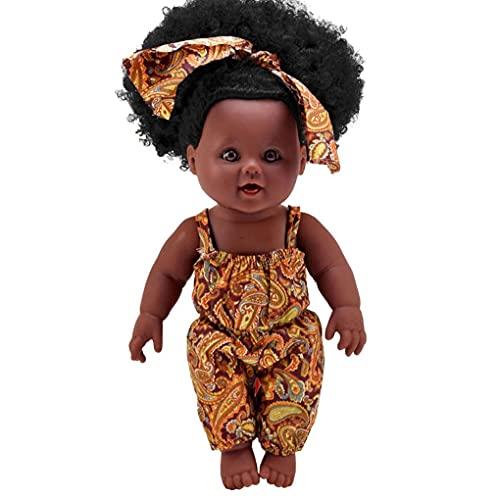Juguetes deportivos Muñecas de niña Piel negra Muñecas de pelo rizado Ropa Cambiable Simulación Muñecas para bebés para el regalo de los niños