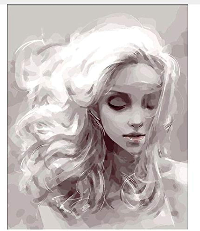 Superlucky Schönes Mädchen Bild Malerei Färbung nach Zahlen DIY Handgemalt auf Leinwand Quadros De Sala Estar Digital von Zahlen Dekor umrahmt 40x50cm B07L856JSX | Authentische Garantie
