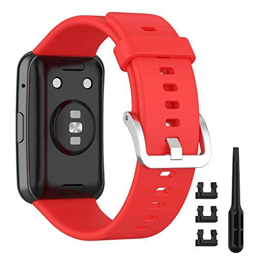 Keweni Correa Compatible con Huawei Watch Fit, Silicona Pulsera de Repuesto para Huawei Watch Fit Smartwatch Brazalete Correas (Rojo-1)
