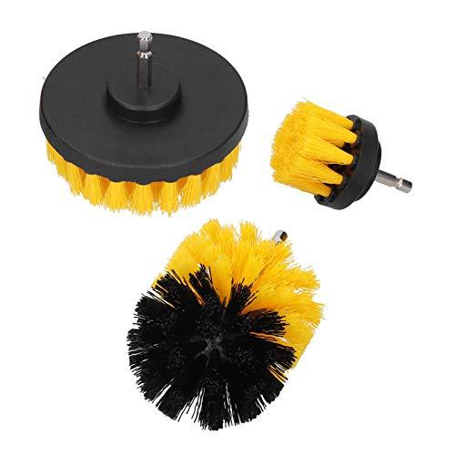 LANTRO JS - Juego de accesorios de cepillo de taladro Cepillo depurador eléctrico para el cabello de nailon Herramienta de limpieza para baldosas de suelo Amarillo