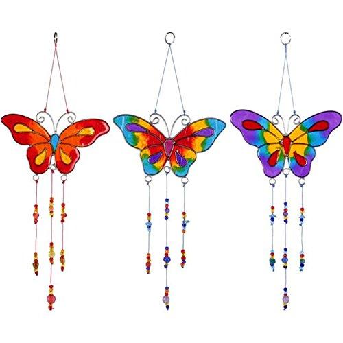 Atrapasueños de mariposas (juego de 3) para colgar con efecto de cristal tintado móvil