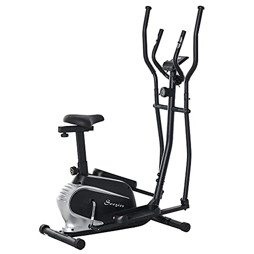 Soozier 2- IN -1 Elliptical Machine Magnetic Cardio Workout Exercise Bike Cross Trainer with 8 Level Resistance, LCD Digital Monitor, Pad Phone Holder, Great for Home Office Gym
