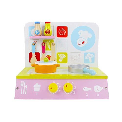 N-brand Juego de Juguete de Cocina de Madera para Estufa de Juguete de Juego de simulación con Accesorios de Utensilios de Cocina para Regalo de niñas
