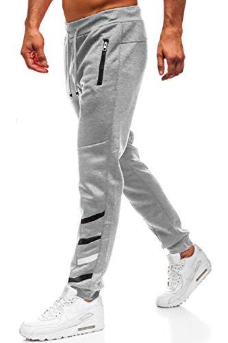 Herren Hosen Hose Sporthose Trainingshose Cargo Pants Jogginghose Sweatpants Jogger Mode Freizeit Laufen Streifen (2. Stil, Hellgrau, l)