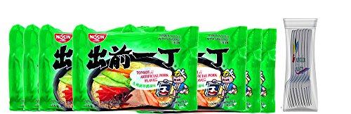 Nissin Ramen Noodles Soup Nissin Demae Tonkotsu Pork Instant Ramen Noodles 7 Packs Free Fork (Tonkotsu Pork)
