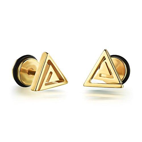 FJYOURIA Pendientes de acero de titanio chapados en oro con forma de triángulo