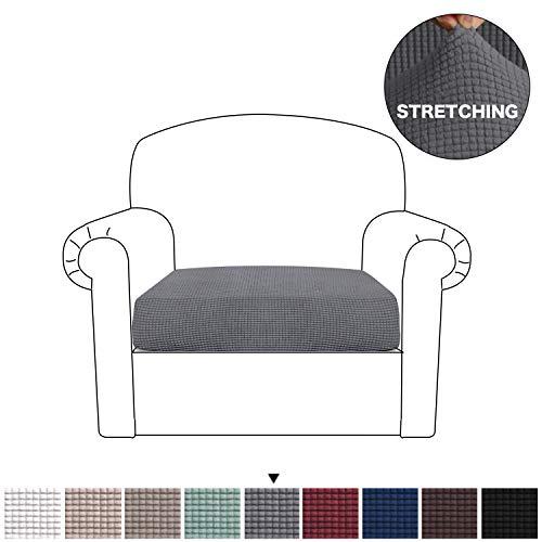 BellaHills Sofa Sitzkissenbezug Stretch Stuhl Schonbezug Spandex Elastic Couch Kissenbezüge Möbelschutz für Sofa Sitzkissen(1 Sitzer Kissen, Grau