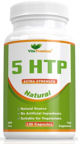 Natural 5-HTP 100mg, 120 Vegetarian Capsules, 4-Month Supply, GMO-Free, Extra Strength Melatonin Regulating Sleeping Aid by Vita Premium