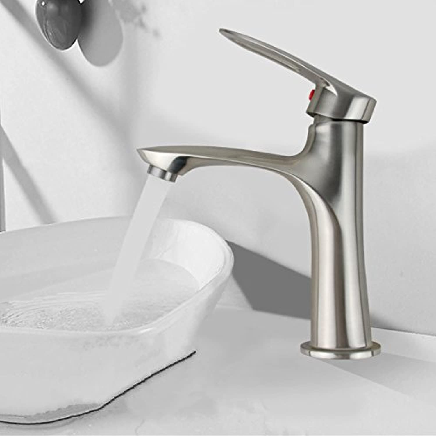 Gyps Faucet Single-Lever Washbasin Mixer Tap Bathroom Sink Mixer Tap Wash Basin Mixer Tap Wash Brushed Wash Basin Single Hole Sink Fittings in Water Pipe