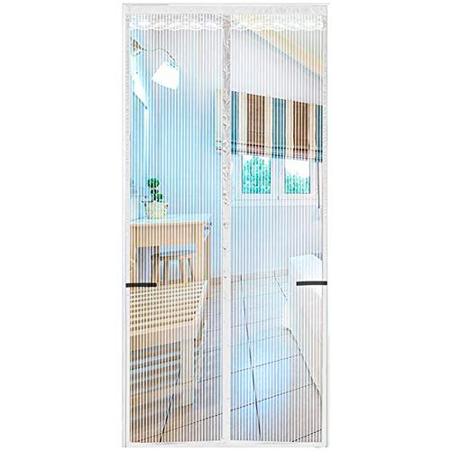 YJY Screen Door Anti Mosquito Magnetic And Fly Curtain with Automatic Magnetic Closing Device, Keep Fresh Air in And Out And Prevent Insects From Passing,White,90 * 220