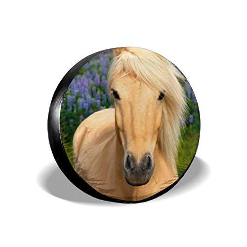 Xhayo Cubierta universal de repuesto de caballo amarillo para neumáticos, impermeable, a prueba de polvo, para remolques, RV, SUV y muchos vehículos (negro, diámetro 14-17')
