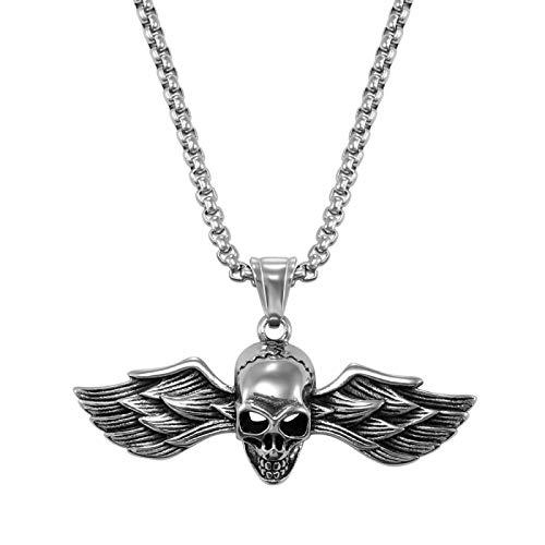 YYJL Nuevo Acero Inoxidable Cuerno gótico Malvado Diablo Demonio cráneo Colgante Collar águila Hip Hop Collar Punk joyería de Halloween para Hombres 17