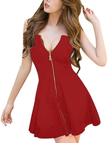 Allegra K Damen A Linie Reißverschluss Off Shoulder Minikleid Kleid Rot XS