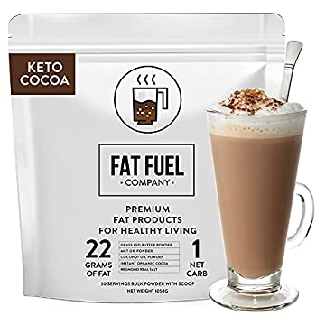 Fat Fuel Instant Keto Cocoa – a Complete Keto-Friendly Meal Replacement with MCT Oil Coconut Oil and Grass Fed Butter – Low Carb Hot Chocolate Organic  30-Serving Bulk Bag …