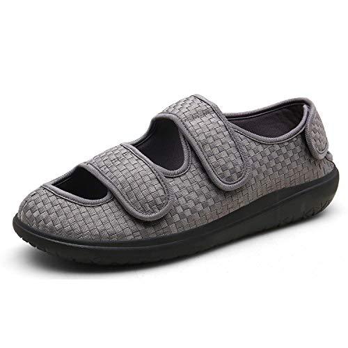 Sandalias Mujer Hombre Zapatillas de Estar por casa Zapatos Diabéticos Respirable Zapatillas Ortopédica para ensanchar Ajustable Cómoda Artritis Edema Zapatos hinchados Gris 43EU