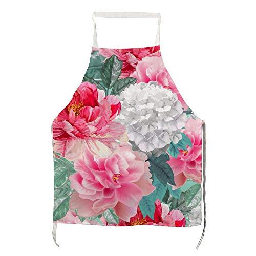 Delantal ajustable para adultos con diseño de flor de peonía, estilo vintage, color rosa, Hydra11., 70*80cm