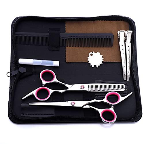 XJST Kit de Tijeras de Corte de Pelo, Tijeras de peluquería de Acero Inoxidable Conjunto Herramienta de Corte de Pelo Profesional para peluquería, salón, hogar, luz y Afilado