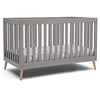 Delta Children Essex 4-in-1 Convertible Baby Crib, Grey with Natural Legs, Grey with Natural Legs