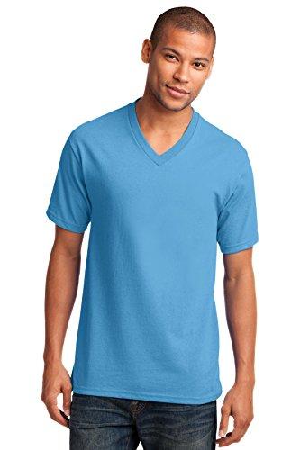 Port & Company Men's 54 oz 100% Cotton V Neck T Shirt XXL Aquatic Blue