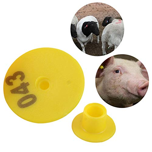 Livecitys Étiquettes d'oreille en Plastique pour Animaux - 100Pcs Forme Ronde Universelle Étiquettes d'oreille pour Animaux d'élevage Rouge