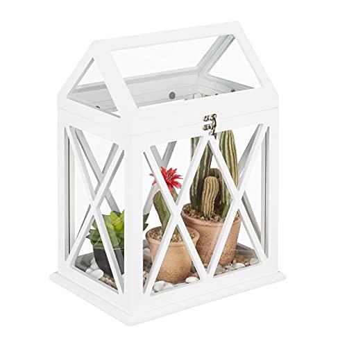 Relaxdays Mini Gewächshaus für Fensterbank, Indoor Treibhaus, Glas und MDF, Kräuter, Blumen, HBT: 40x30x22,5 cm, weiß